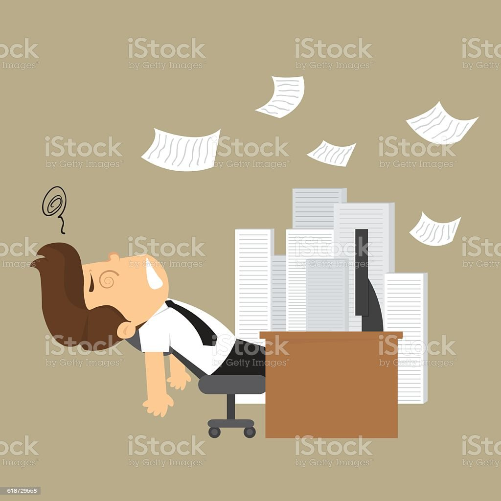 businessman unconscious on the desk and a pile of documents vector art illustration