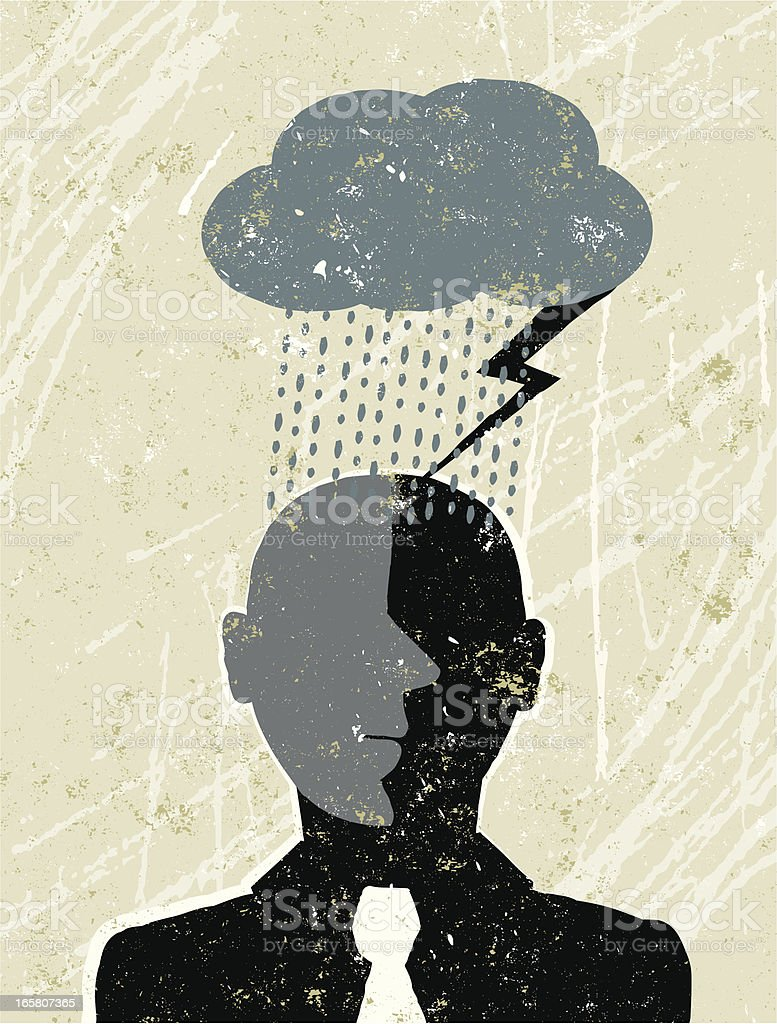 Businessman under a Dark Cloud vector art illustration