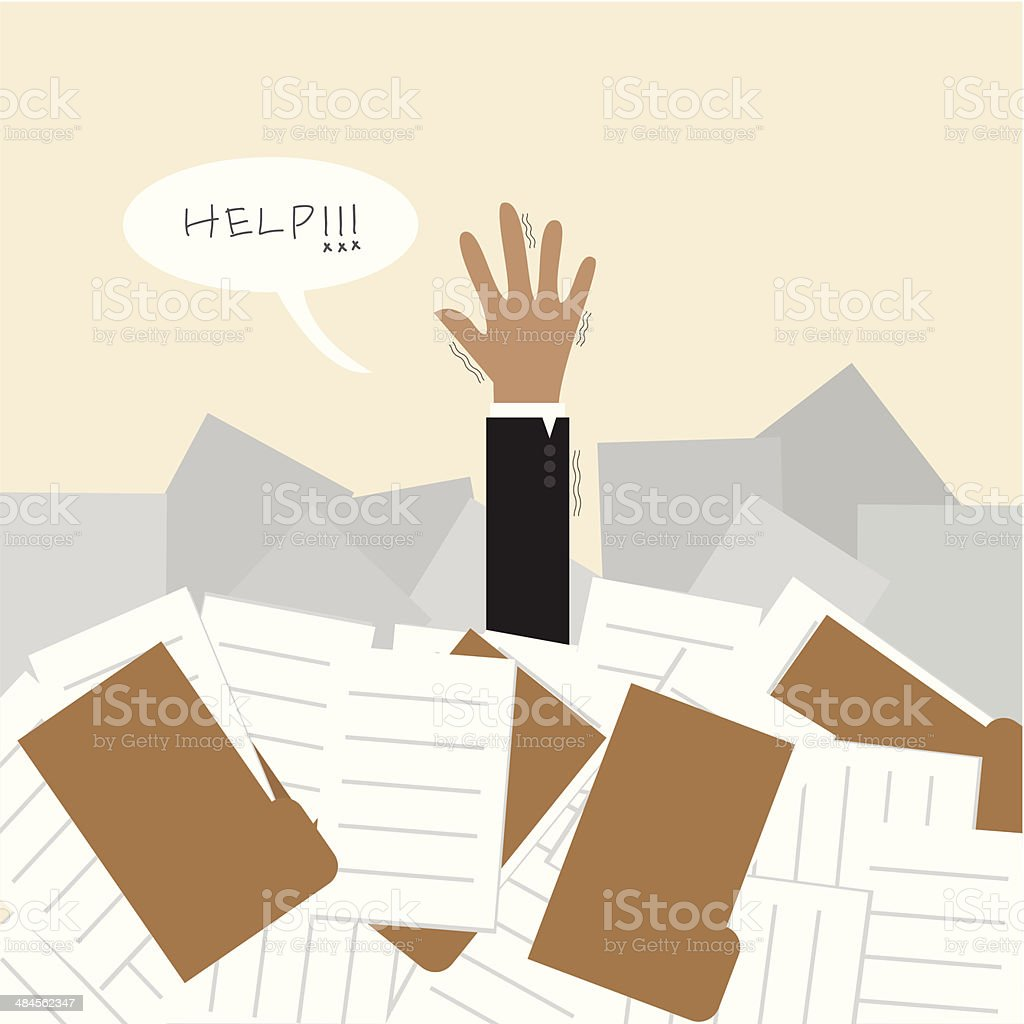 Businessman under a lot of document and call for help vector art illustration