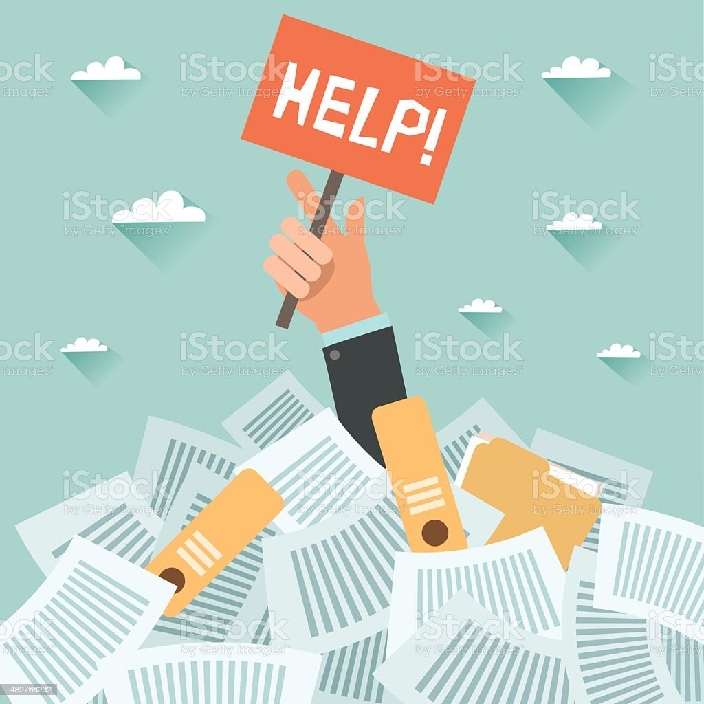 Businessman under a lot of documents and HELP placard vector art illustration