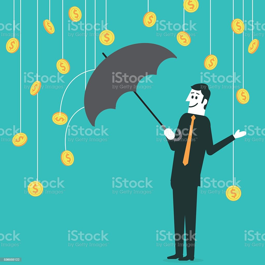 Businessman under a money rain vector art illustration