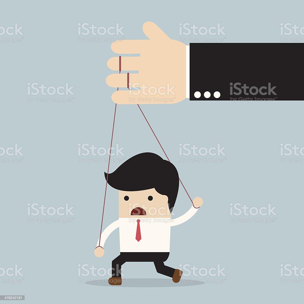 Businessman under control vector art illustration