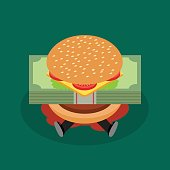 Businessman under hamburger crisis