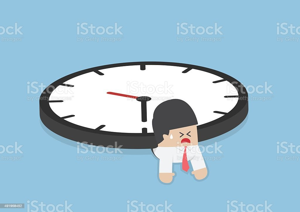 Businessman under the big clock, Deadline, Overtime concept vector art illustration