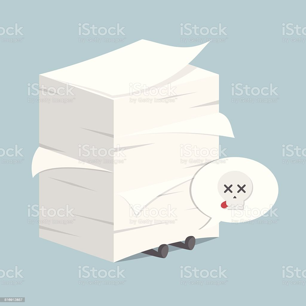 Businessman under the stack of paper vector art illustration