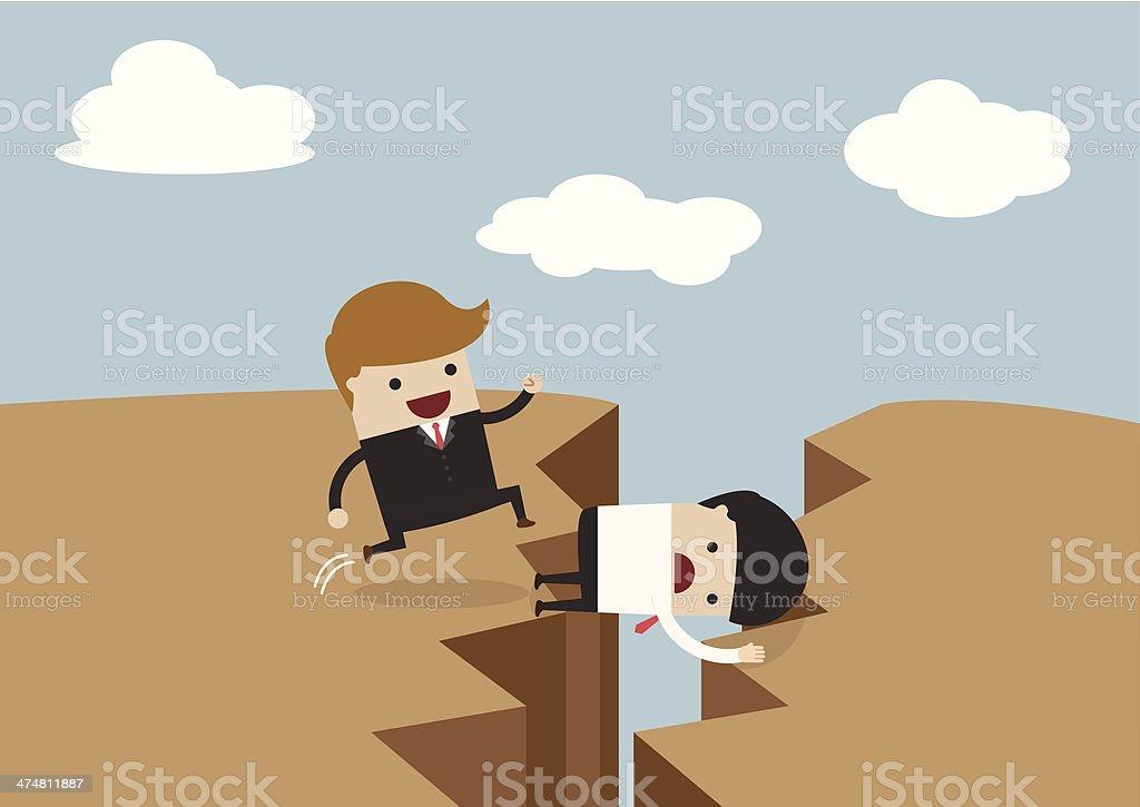 Businessman use himself as bridge vector art illustration