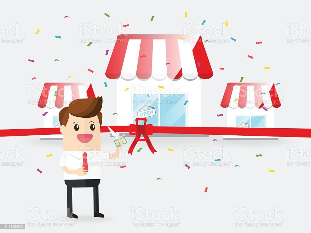 businessman use scissors cut red ribbon grand opening franchise business vector art illustration