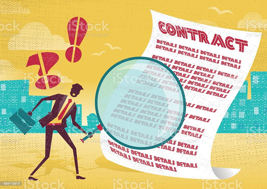 Businessman uses magnifying glass to check contract. vector art illustration