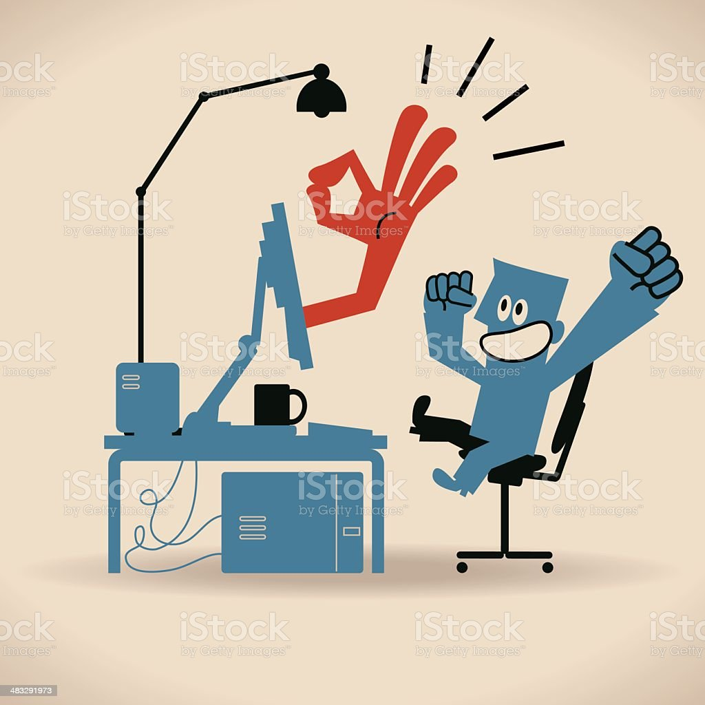 Businessman Using Computer, Ok hand sign coming out from PC royalty-free stock vector art