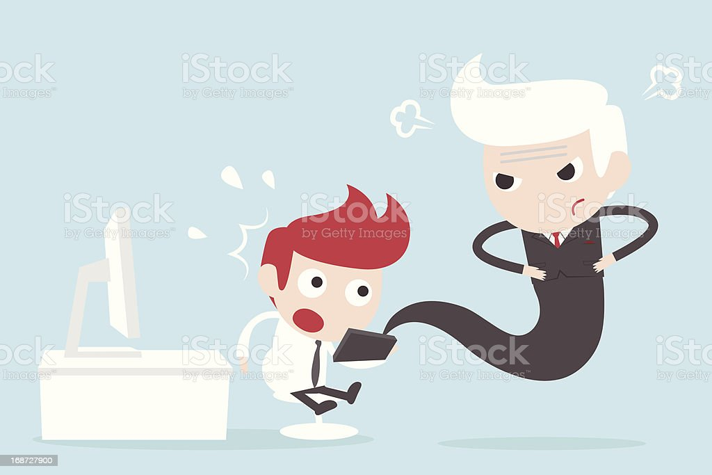businessman using digital tablet and angry boss royalty-free stock vector art