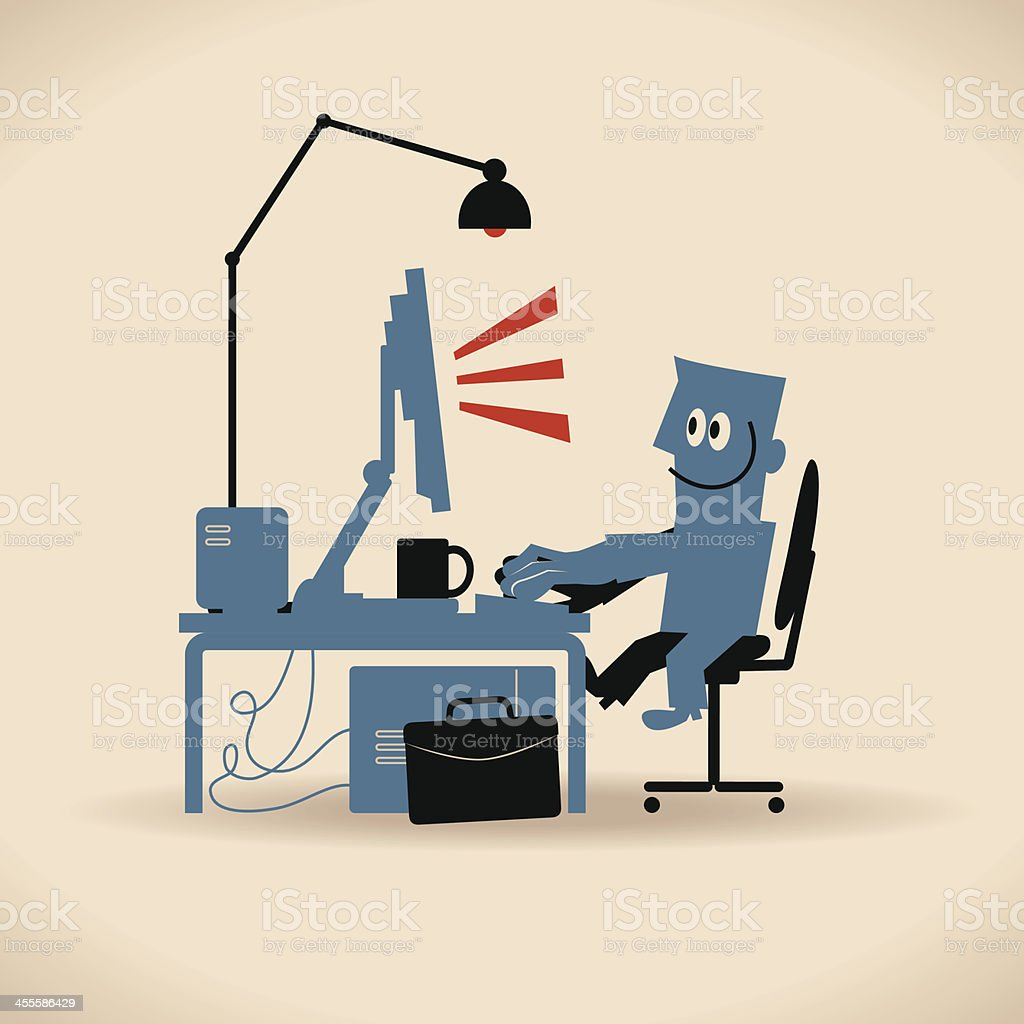 Businessman Using Laptop Computer At Desk Sitting On Chair. (Working) vector art illustration