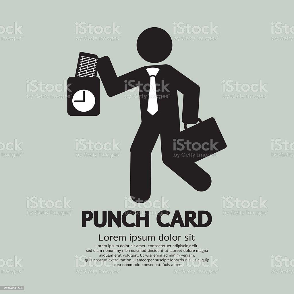 Businessman Using Punch Card For Time Check Vector Illustration vector art illustration