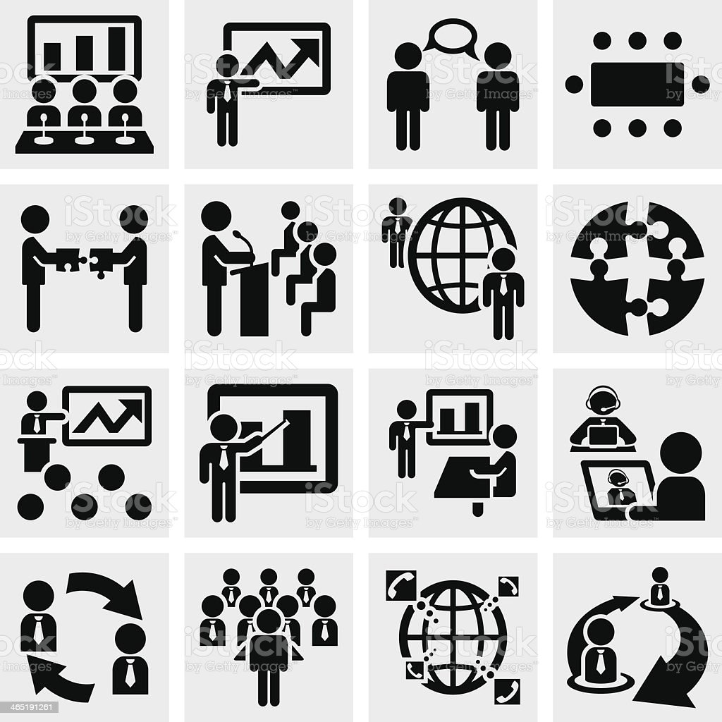 Businessman vector icons set on gray. vector art illustration