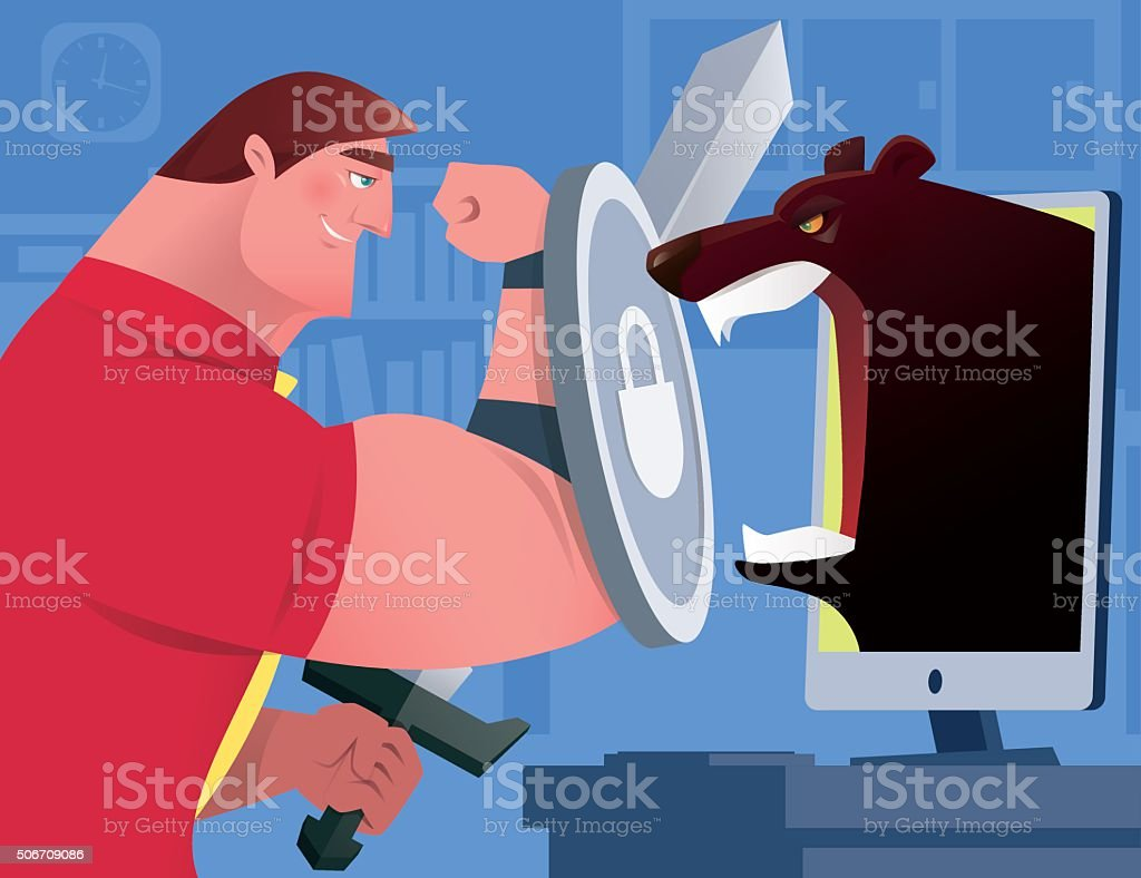 businessman versus bear vector art illustration