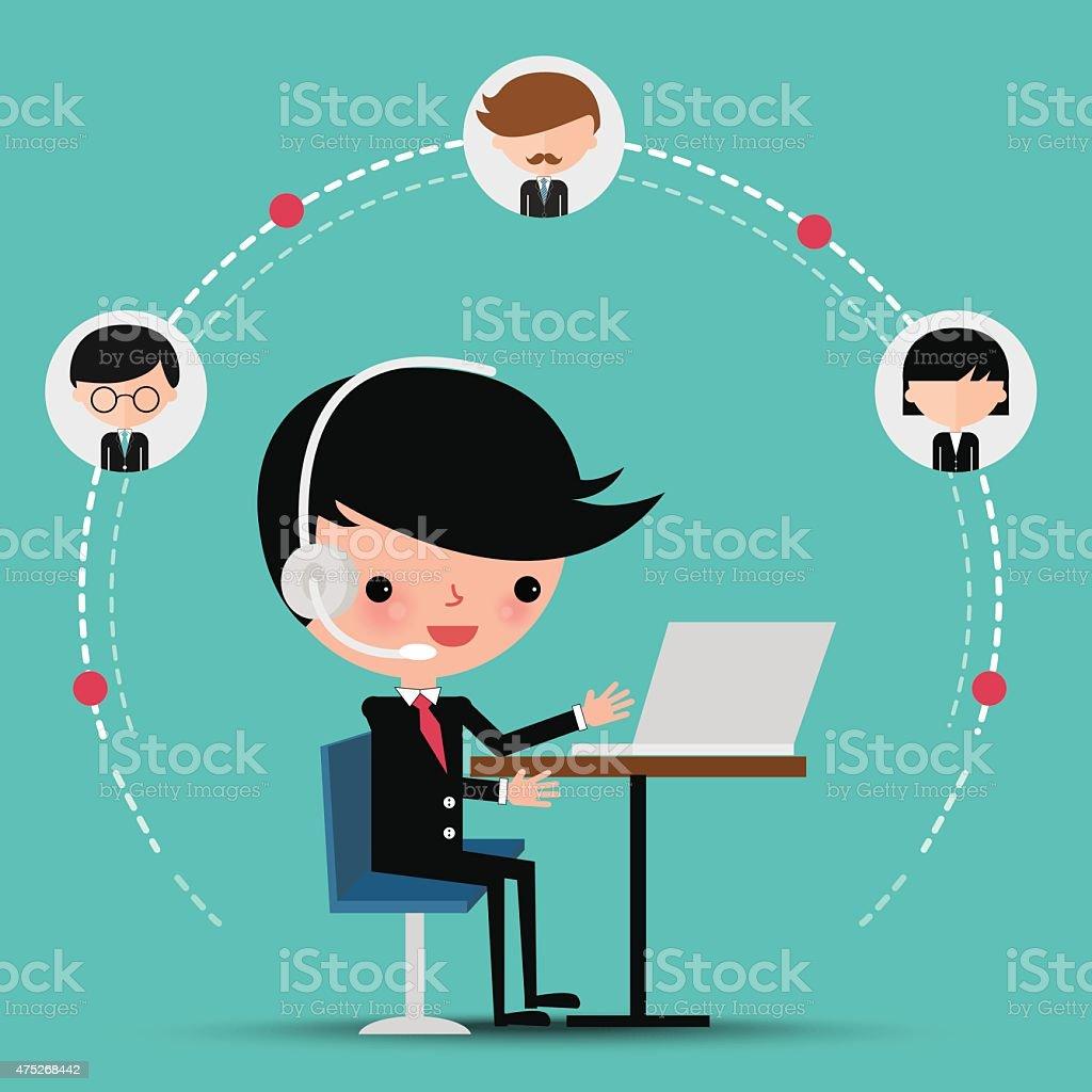 Businessman video conference call vector art illustration