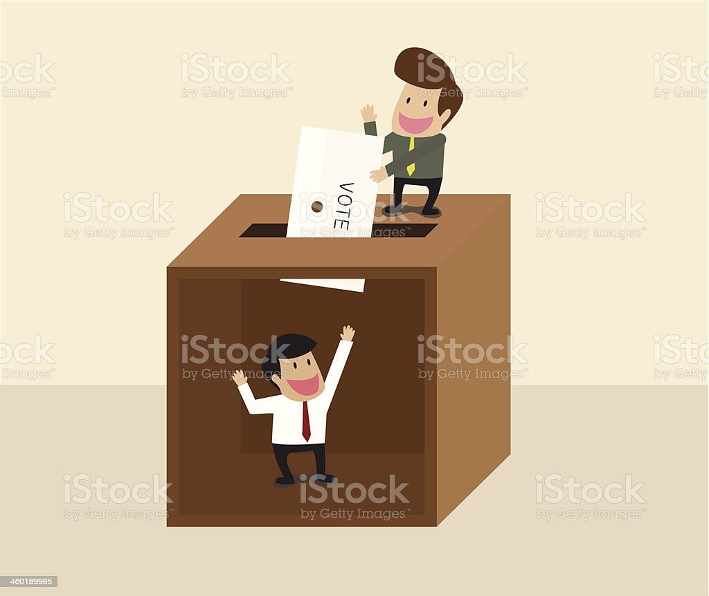 Businessman voting at ballot box with another man waiting inside royalty-free stock vector art