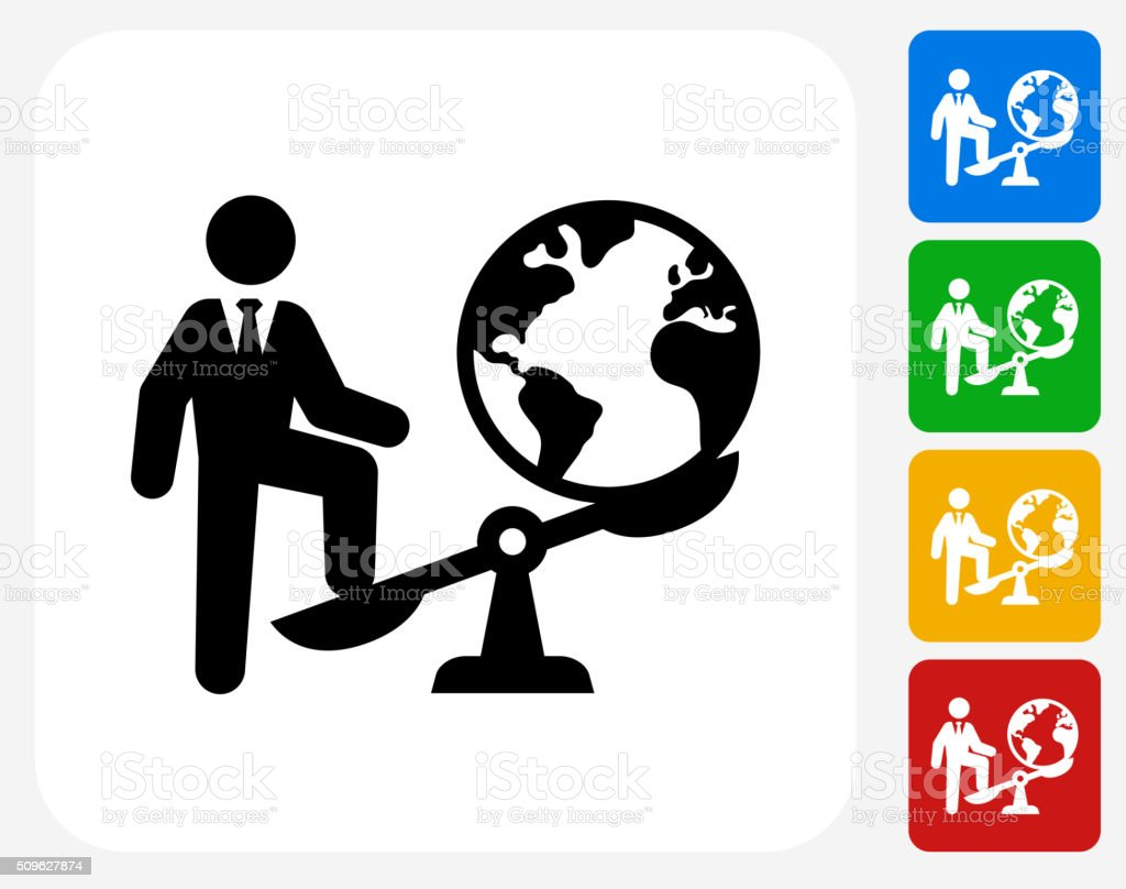 Businessman Vs. World Icon Flat Graphic Design vector art illustration