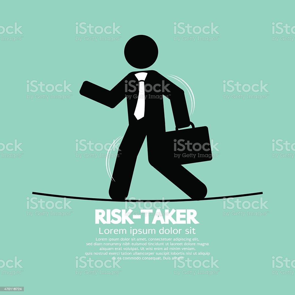 Businessman Walk On A Line Rask-Taker Concept vector art illustration