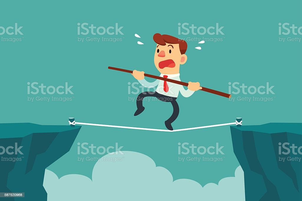 businessman walk on rope across cliff gap vector art illustration