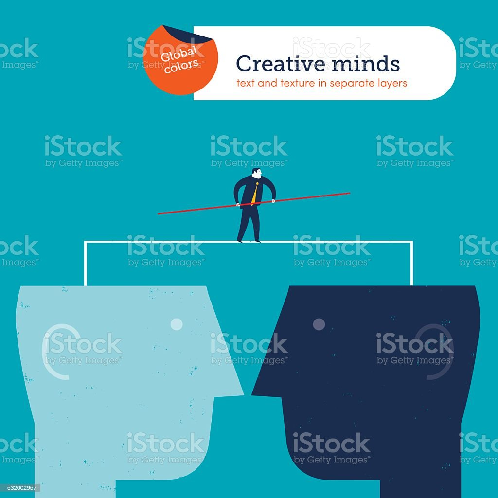 Businessman walking a tightrope between two heads vector art illustration