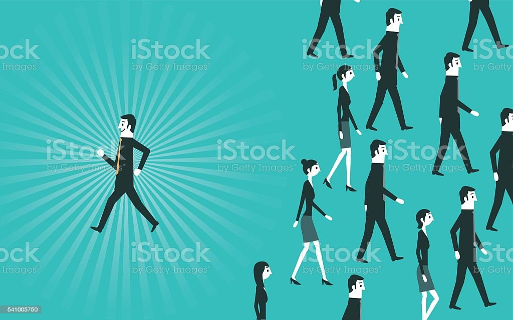 Businessman walking in different way vector art illustration