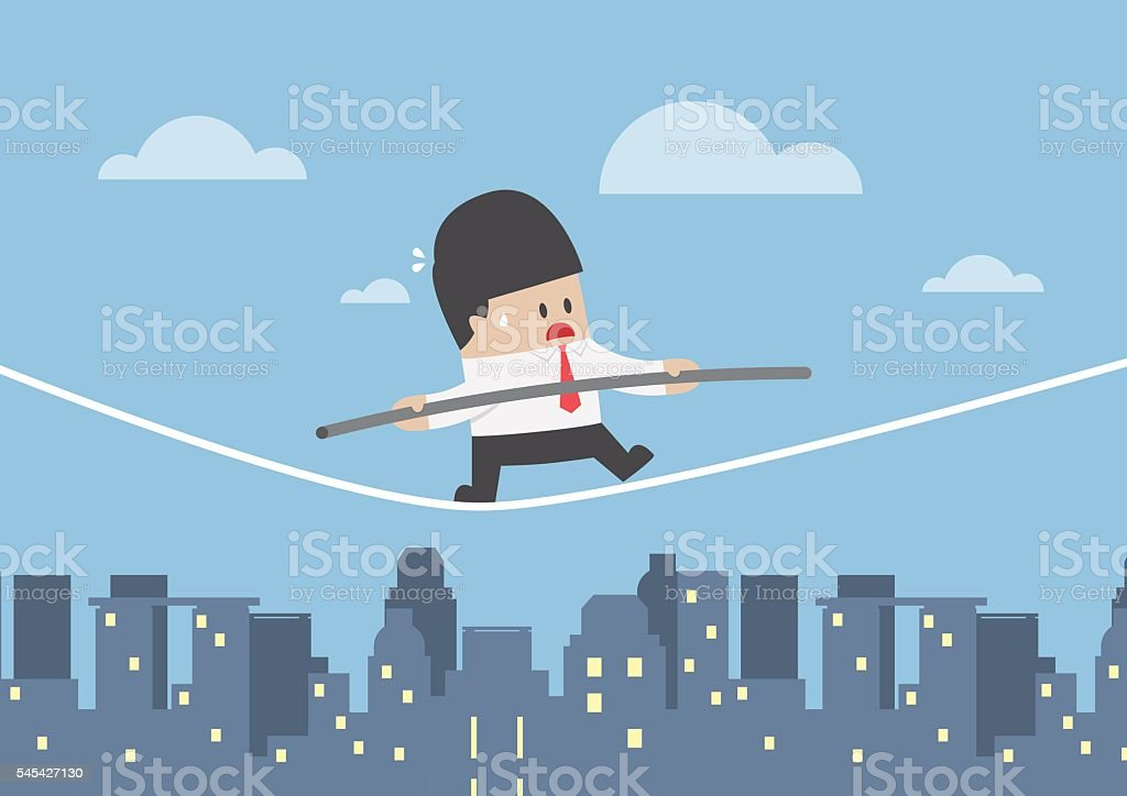 Businessman walking on a rope over the city vector art illustration