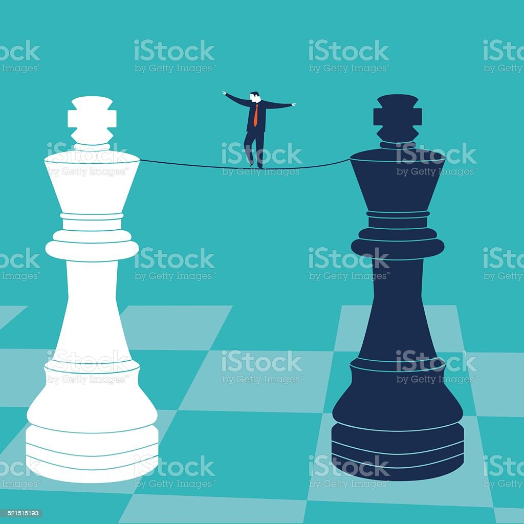 Businessman walking on a tighrope with chess kings vector art illustration