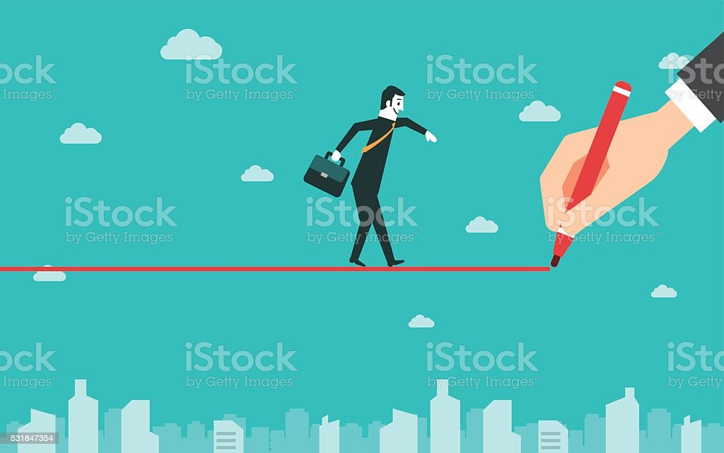 Businessman walking on drawn line vector art illustration