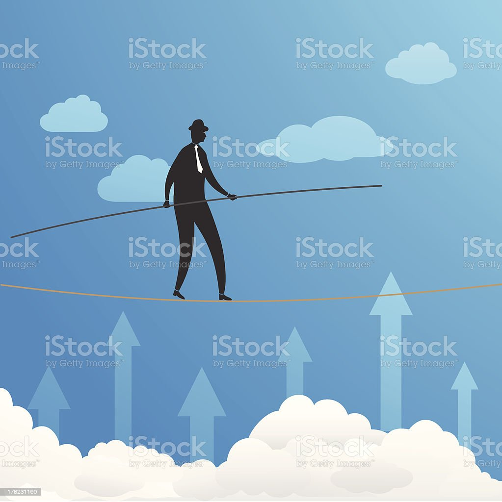 Businessman Walking On Rope royalty-free stock vector art