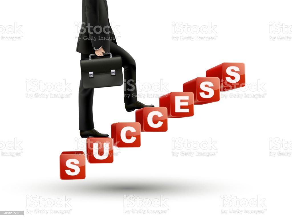 businessman walking on success stairs vector art illustration