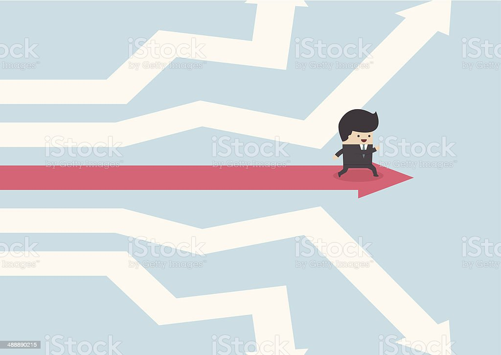 Businessman walking on the road of success vector art illustration