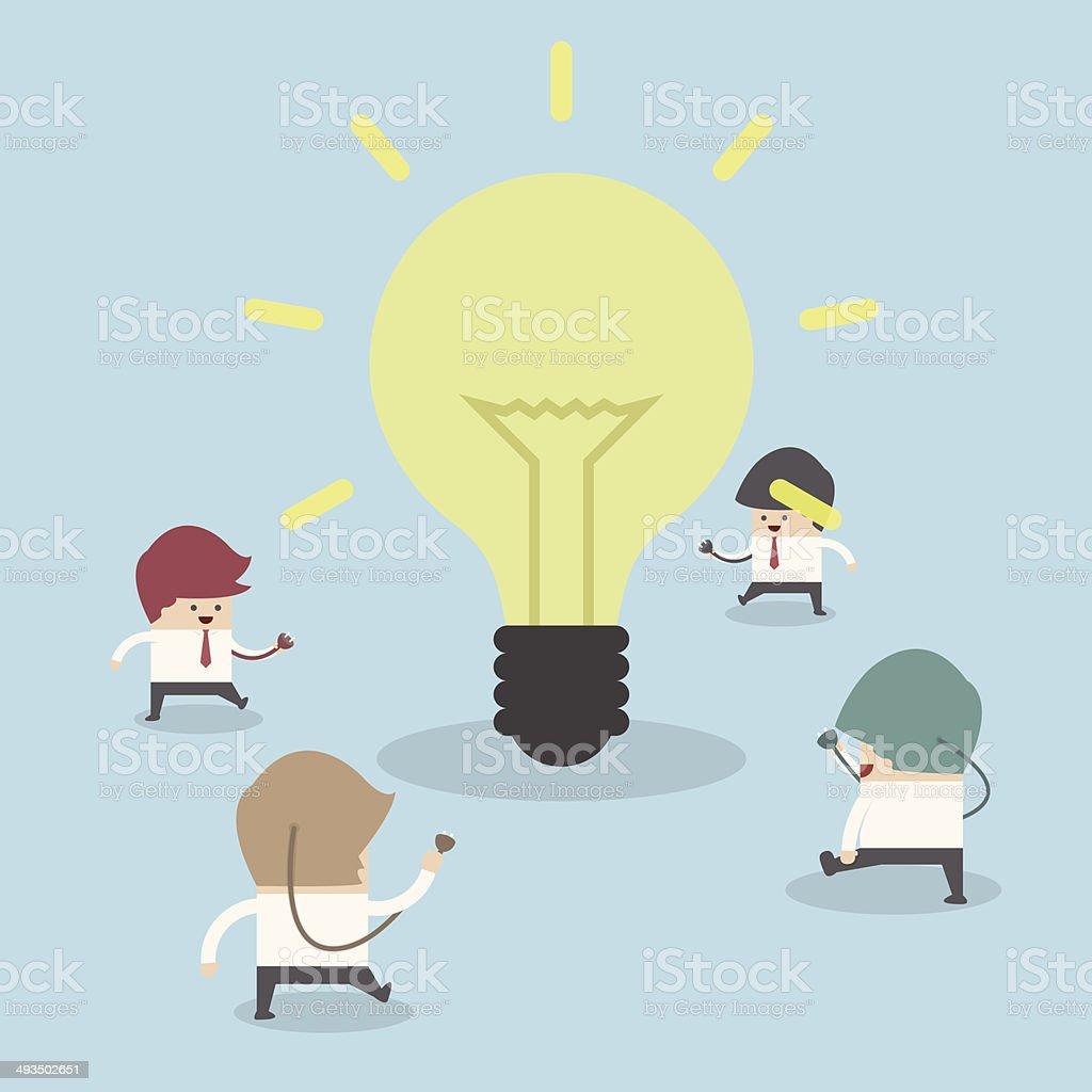 Businessman walking to light bulb to get idea, Idea concept royalty-free stock vector art