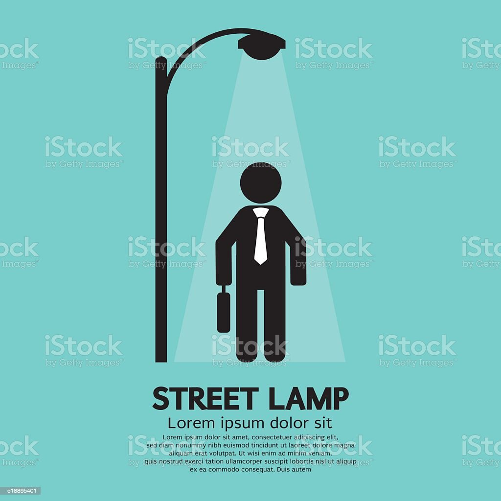 Businessman Walking Under Street Lamp Vector Illustration vector art illustration
