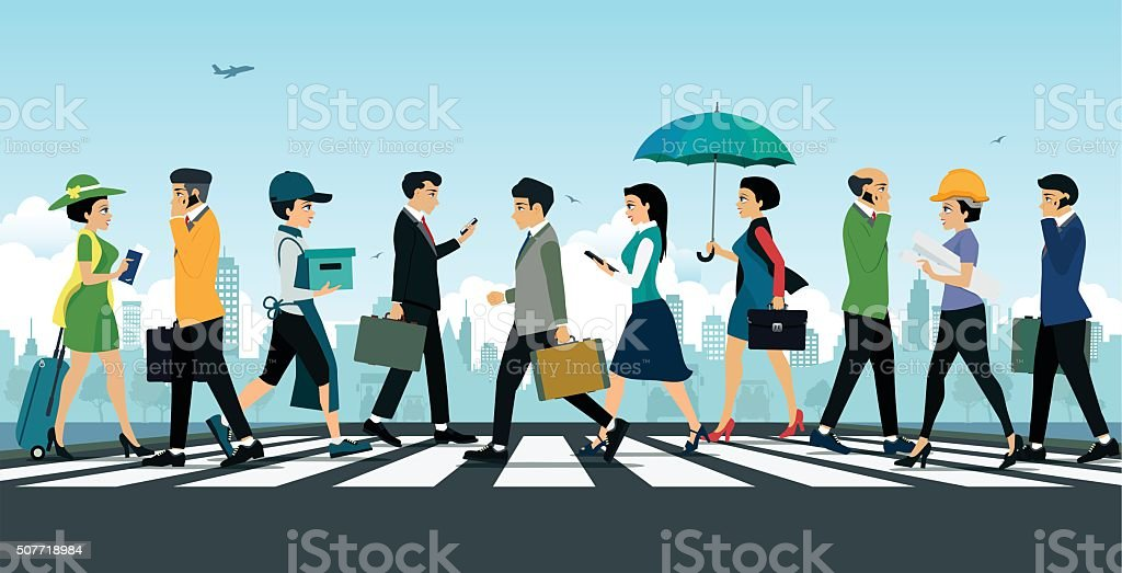 Businessman walking vector art illustration