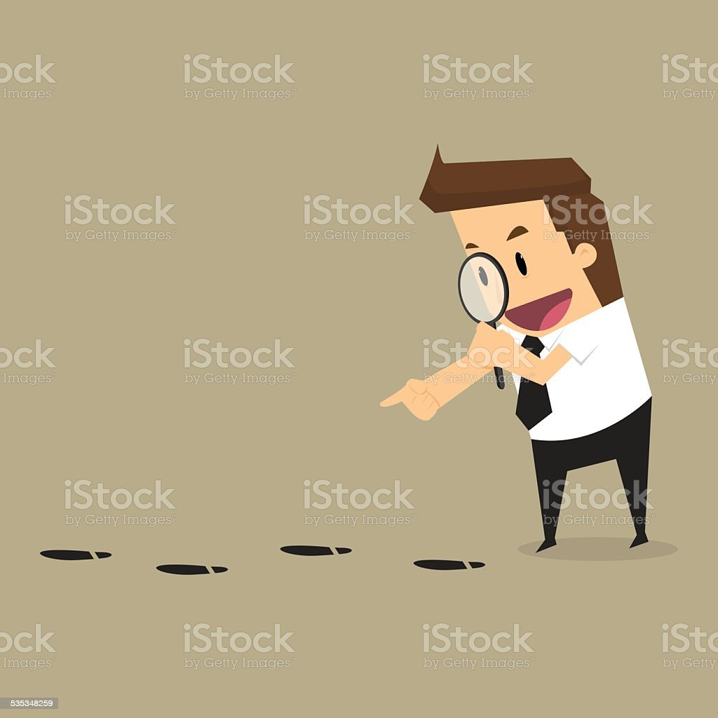 Businessman walking with magnifying glass, looking for foot mark vector art illustration