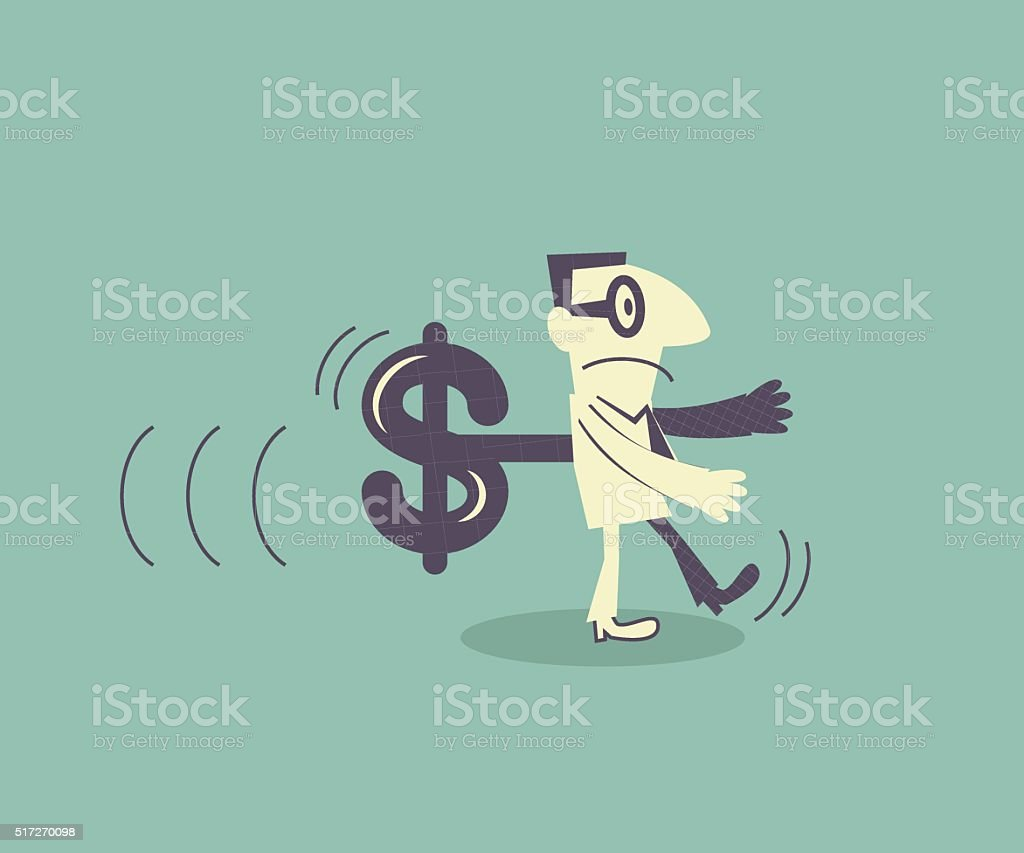 Businessman walking with money shaped wind-up key in his back vector art illustration