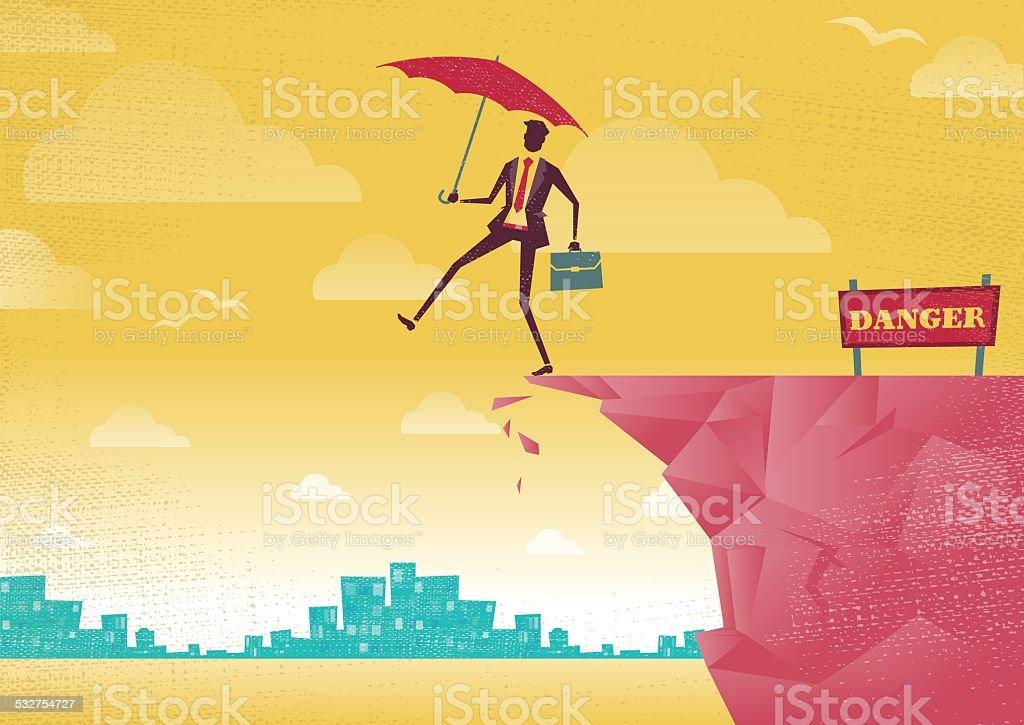 Businessman walks off a cliff. vector art illustration