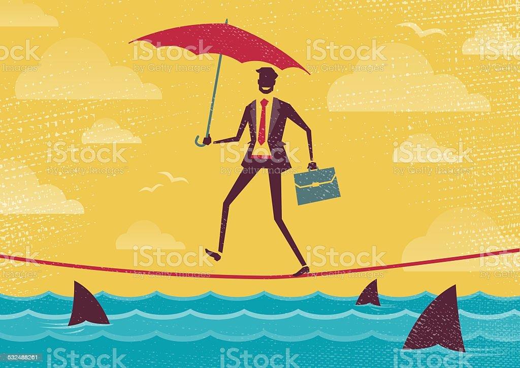 Businessman walks Tightrope with Umbrella. vector art illustration