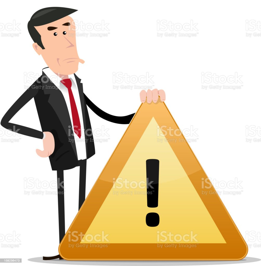 Businessman Warning Sign royalty-free stock vector art