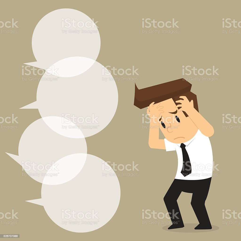 businessman was being questioned vector art illustration