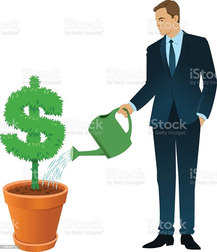 Businessman Watering a Dollar Sign Tree vector art illustration