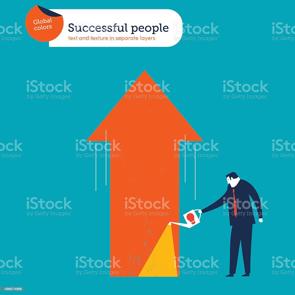 Businessman watering a growing arrow with good ideas vector art illustration