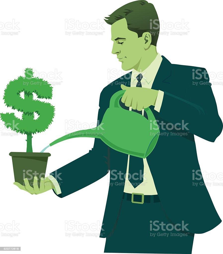 Businessman Watering Dollar Sign vector art illustration