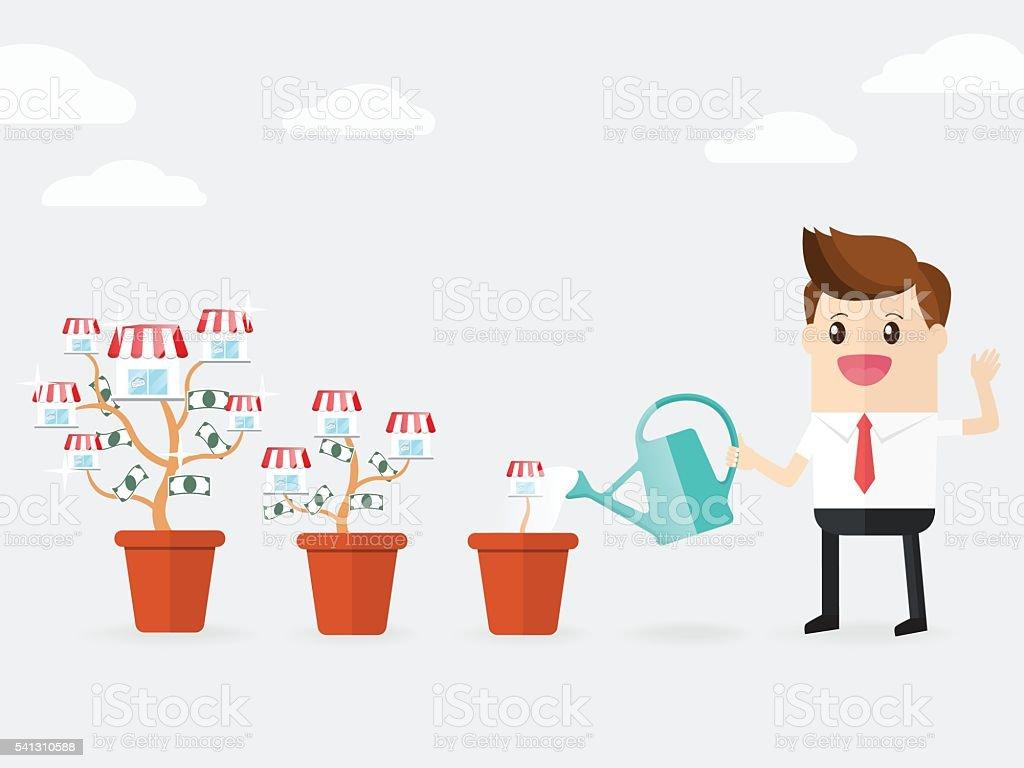 businessman watering franchise trees growing bigger in pots vector art illustration