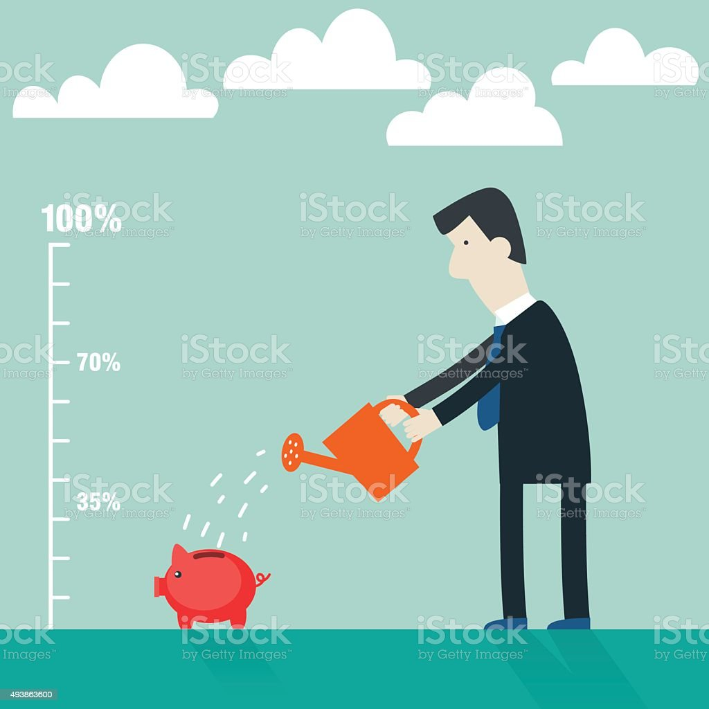 Businessman watering piggy bank. Businessman investing money concept vector art illustration