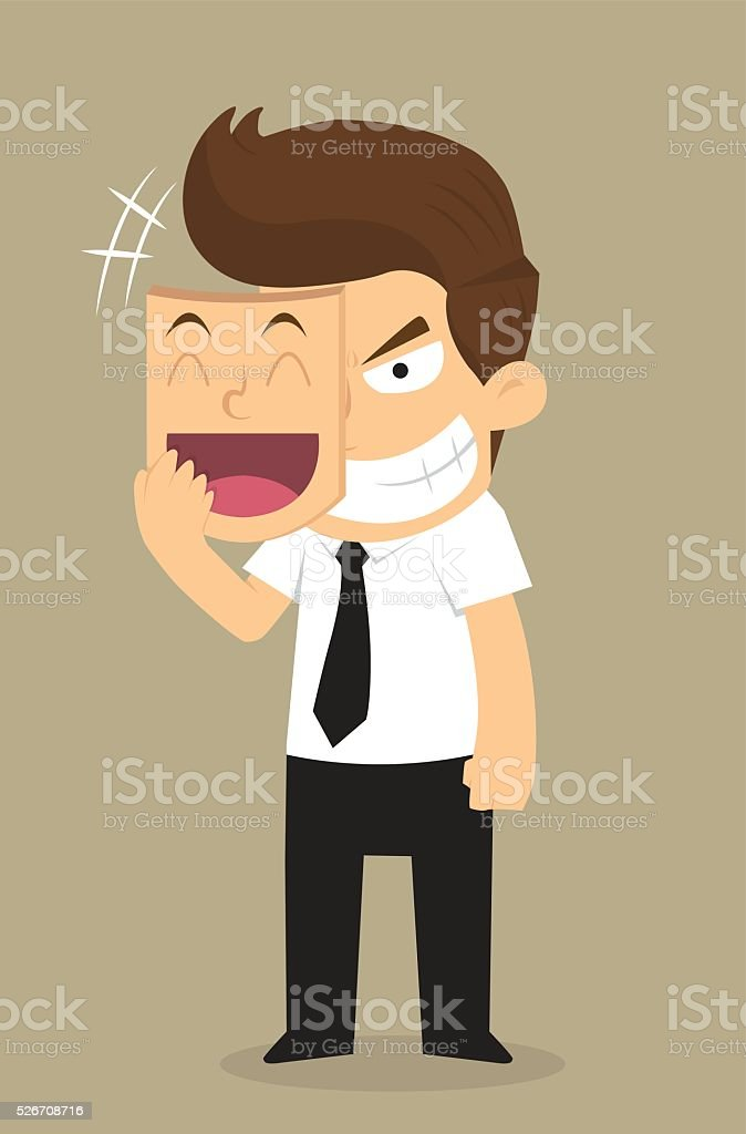 businessman wear the mask smile but face in insidious vector art illustration