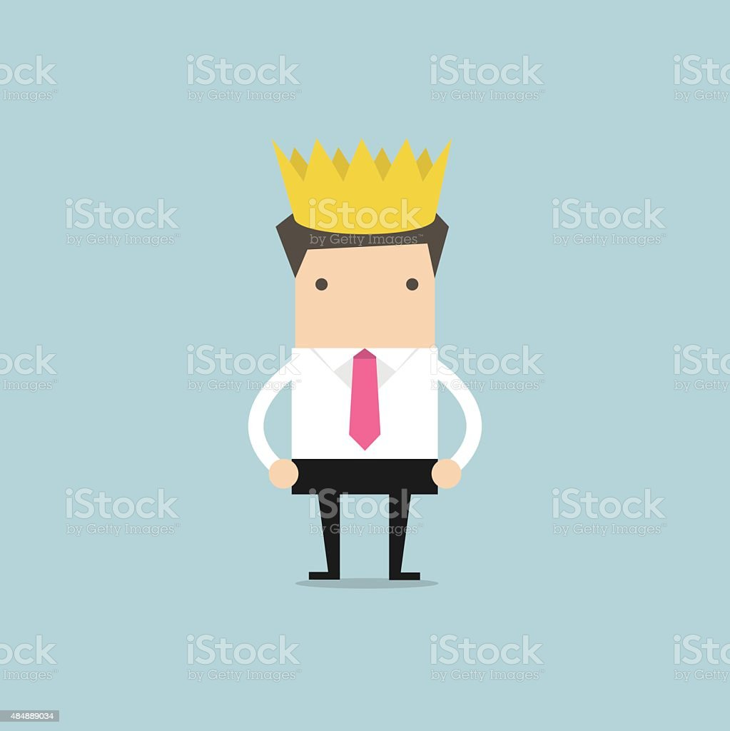 Businessman wearing a crown vector art illustration