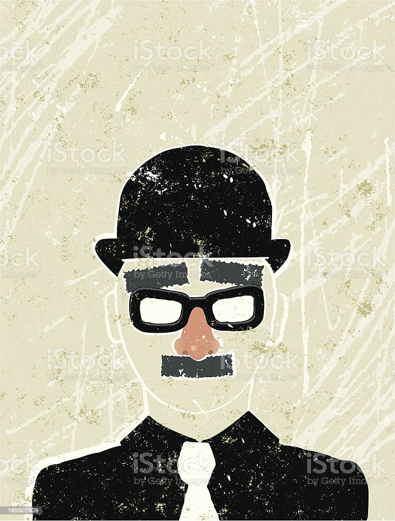 Businessman wearing a Fake nose and glasses royalty-free stock vector art