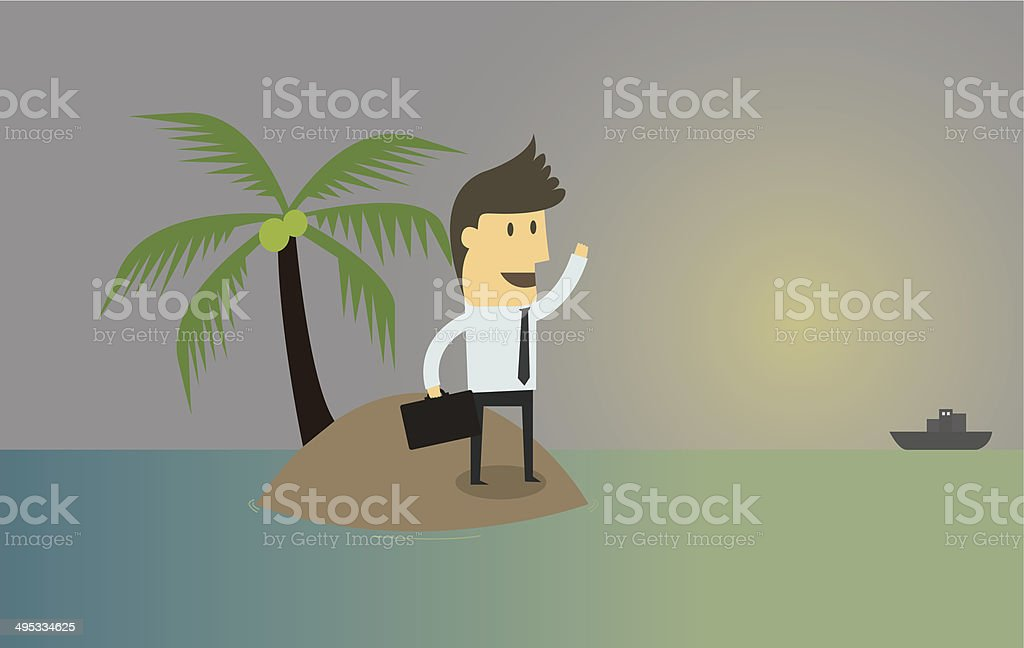 Businessman who found himself stranded on island,chances of surv vector art illustration