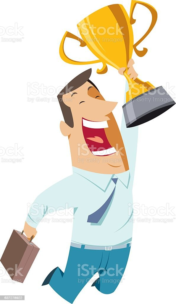 businessman winner holds cup vector art illustration